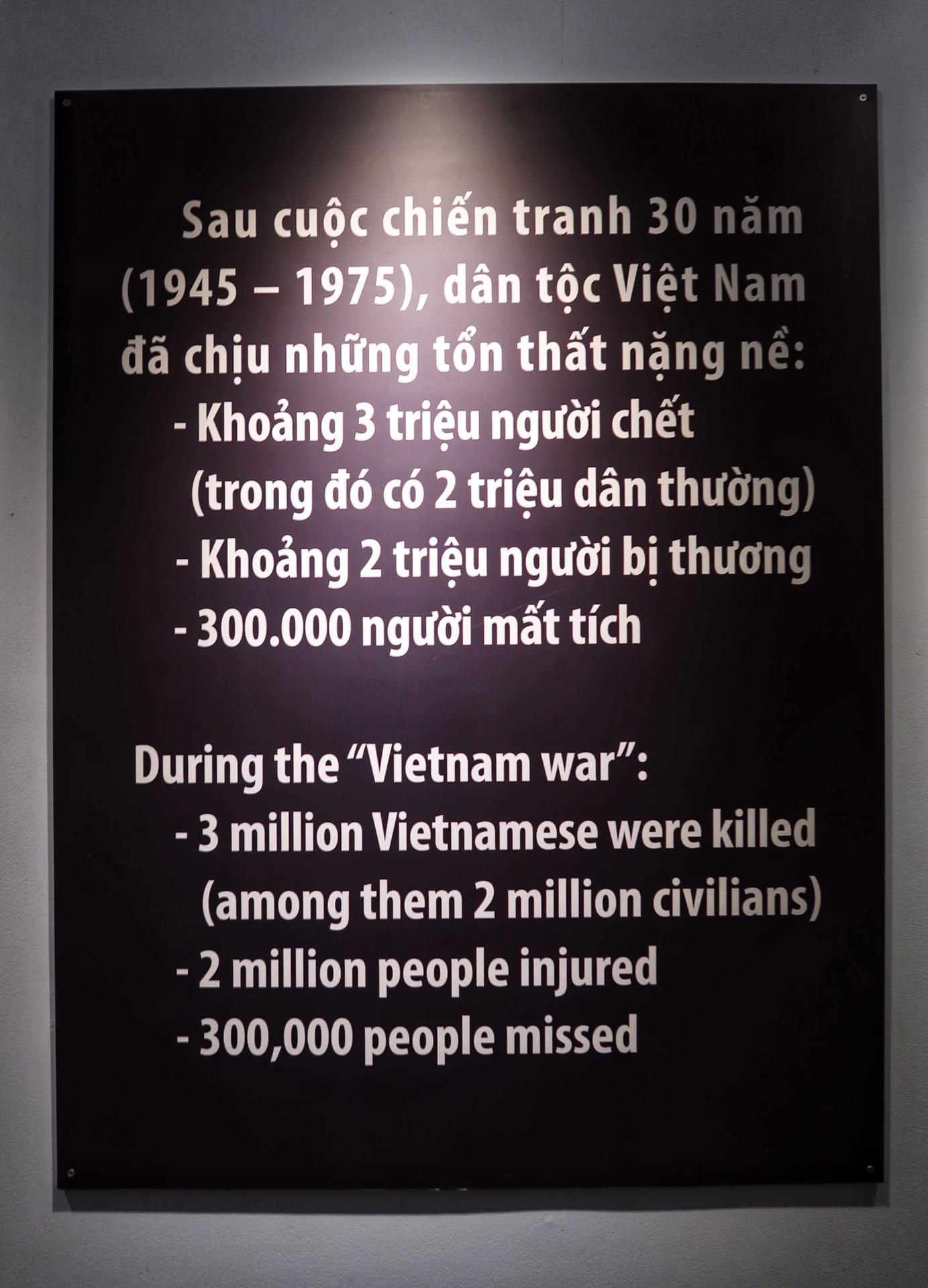 Krigsmuseum i Ho Chi Minh - antallet af døde