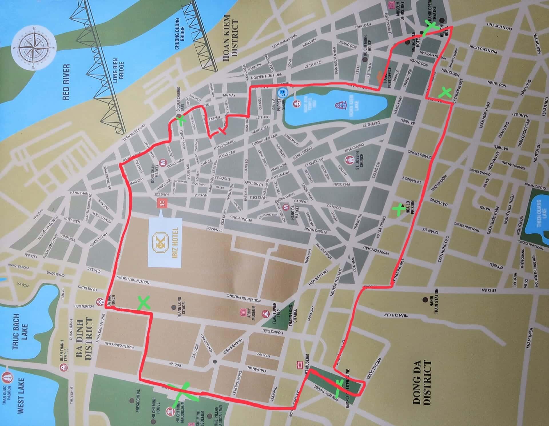 kort over hanoi by og gårute til seværdigheder
