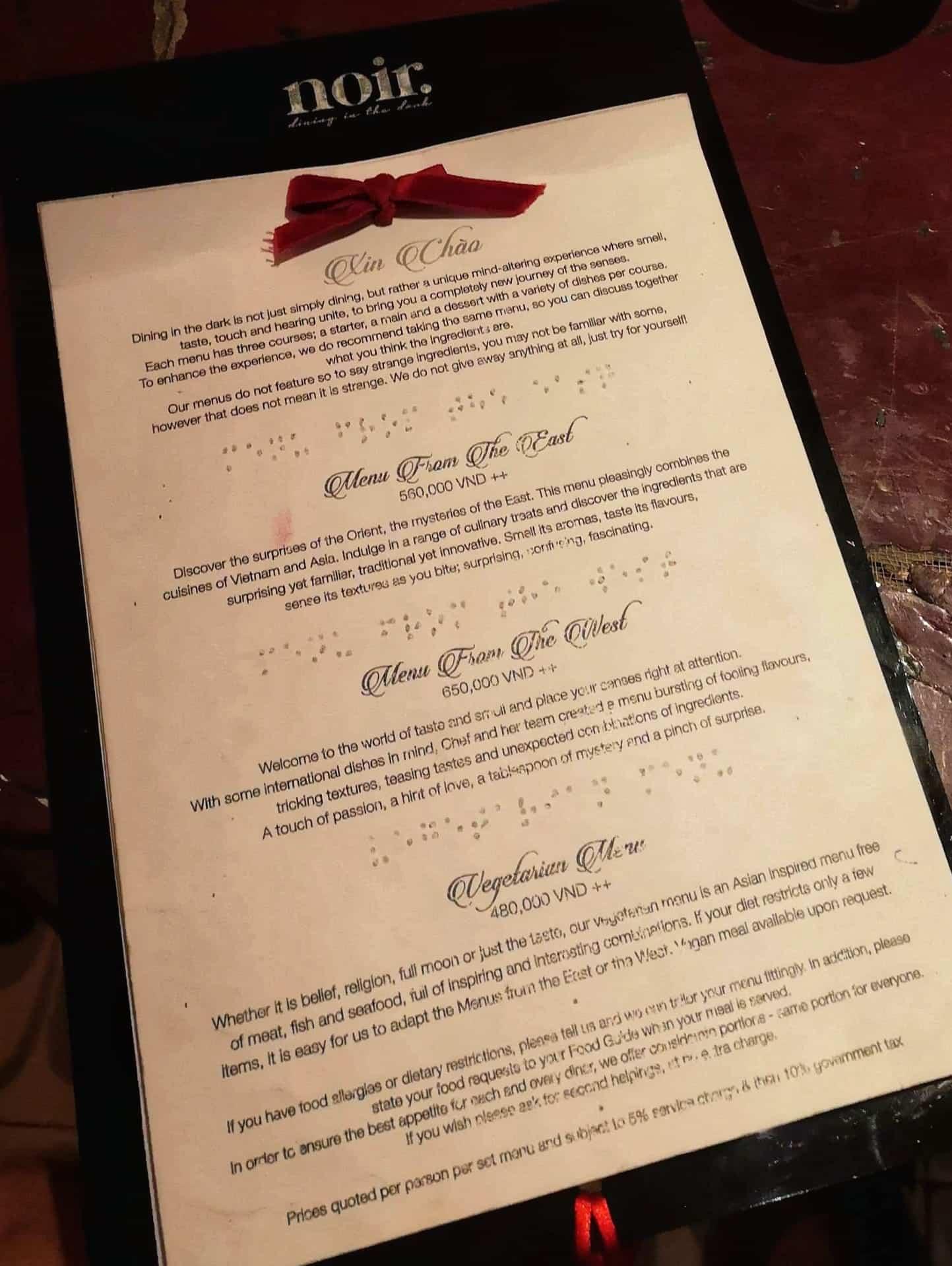 menukort på noir dining in the dark