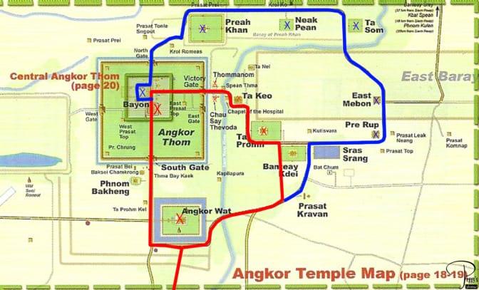 kort over angkor templerne
